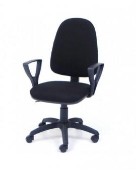 Poltroncina girevole per ufficio seduta interna in faggio imbottita tessuto nero