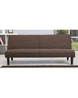 Divano 3 posti in tessuto marrone trasformabile a letto struttura in legno