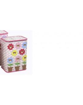Cesto in legno e vimini porta giocattoli porta biancheria rosa piccolo