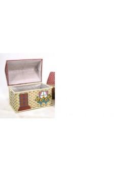 Cesto piccolo in legno e vimini porta giocattoli porta biancheria forma casa