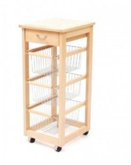 Carrello porta frutta,porta verdura in legno con 3 cassettimetallo col.naturale