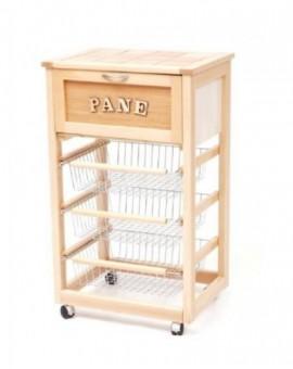 Carrello porta pane,porta frutta in legno con 3 cestelli estraibili col.naturale