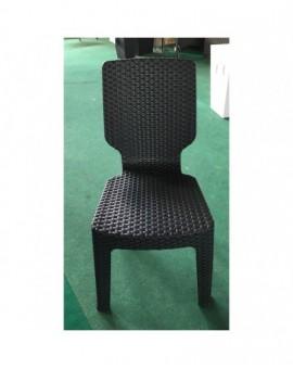 sedia senza braccioli in resina antracite effetto rattan per esterno arredo