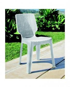 sedia senza braccioli in resina bianca effetto rattan per esterno arredo giardin