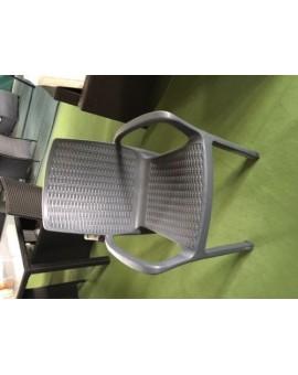 Poltrona sedia con braccioli in resina antracite effetto rattan per esterno
