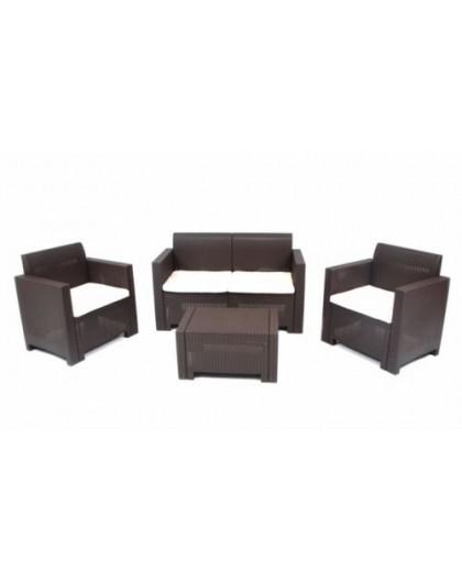 Set per esterno in resina effetto rattan completo divano,poltrone tavolino  moka - Nonsolopoltrone