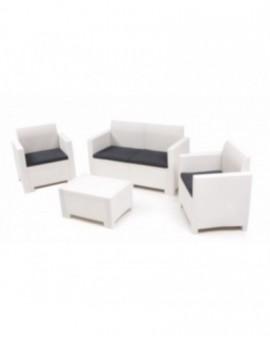Set per esterno in resina effetto rattan completo divano,poltrone tavolino bianc