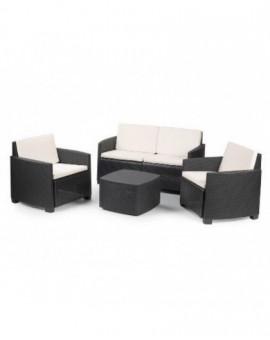 Set per esterno in resina effetto rattan completo divano,poltrone tavolino grigi