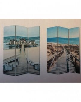 Separe' Paravento Divisorio In Legno E Tela Raffigura Un Paesaggio Estivo