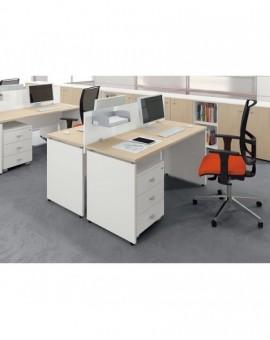 Scrivania elegant da ufficio 80x80 pannellata bianco acero las mobili oxi