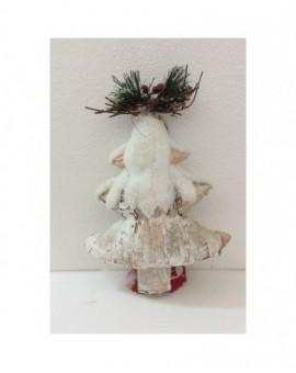 Fuoriporta addobbo natalizio albero innevato con decoro albero di natale