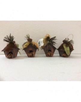 Addobbo Natalizio 4X pallina a forma di nido in legno per albero di natale