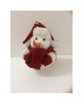 Addobbo natalizio pupazzo di neve banco con inserti in lana di colore rosso
