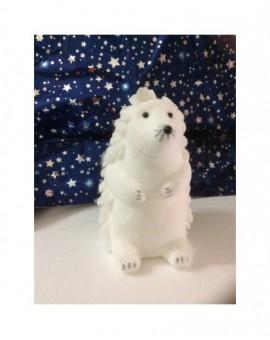 Addobbo natalizio animale riccio bianco per addobbo natale
