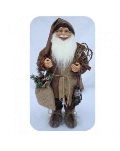 Babbo natale marrone con barba liscia misura 50 arredo natale natalizio