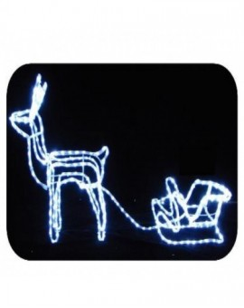 Renna con slitta led blu arredo esterno addobbo natale natalizo