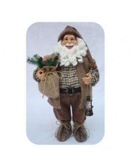 Babbo natale marrone con barba riccia misura 60 arredo natale natalizio