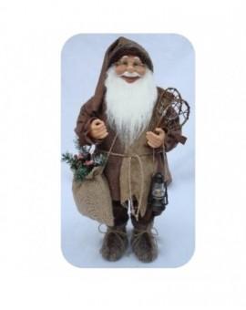 Babbo natale marrone con barba liscia misura 60 arredo natale natalizio