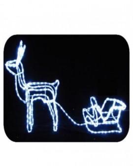Renna con slitta led bianco freddo c/flash arredo esterno addobbo natale nataliz