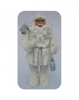 Babbo natale bianco con barba riccia misura 60 arredo natale natalizio