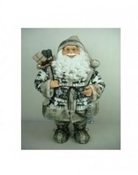 Babbo natale grigio con sacco misura 60 musicale arredo natale natalizio