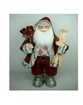 Babbo natale rosso con sci misura 60 musicale arredo natale natalizio