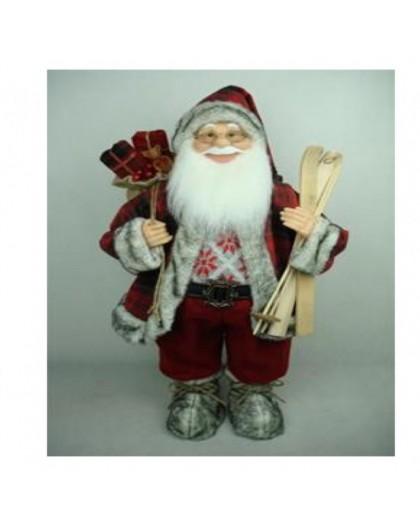 Babbo Natale Musicale.Babbo Natale Rosso Con Sci Misura 60 Musicale Arredo Natale Natalizio Nonsolopoltrone