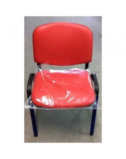 Sedia fissa da ufficio in finta pelle sky rosso offerta 10 pezzi Nonsolopoltrone