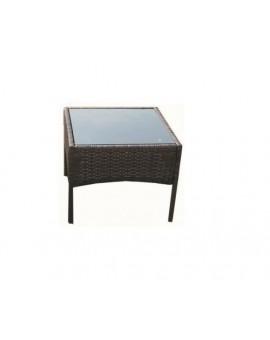 Tavolino Pool con struttura metallo rivestita wicker polirattan intrecciat MOKA