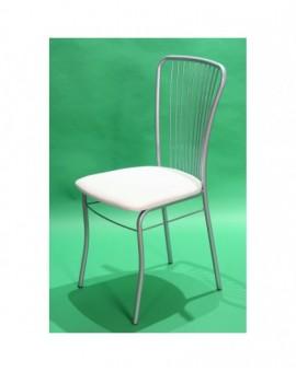 Sedia per bar,casa,locale cucina in metallo verniciato seduta imbottita bianca
