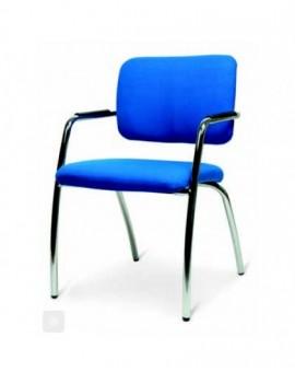 Sedia fissa struttura cromata seduta e schienale imbottito blu tutti i colori