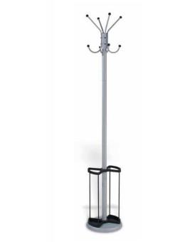 Appendiabiti attaccapanni a colonna colore silver completo di porta ombrelli uff