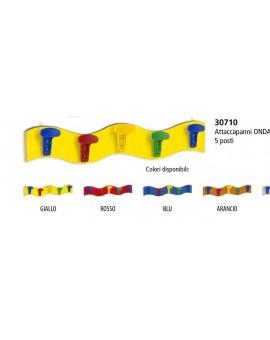 Attaccapanni appendiabiti da muro ad onda vari colori per scuola mis.90x16