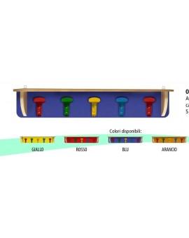 Attaccapanni appendiabiti da muro con cappelliera vari colori per scuola 90x16cm