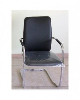 Sedia su slitta finta pelle nera struttura cromata lucida con braccioli