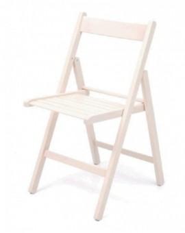 4x sedia in legno pieghevole di faggio colore bianco da giardino