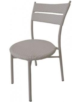 Sedia alluminio in polyrattan bianca per esterno bar locali giardino arredo