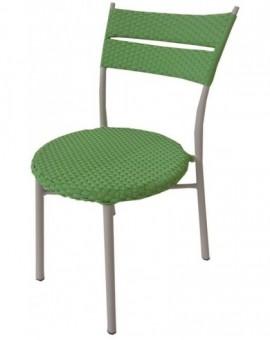 Sedia alluminio in polyrattan verde per esterno bar locali giardino arredo