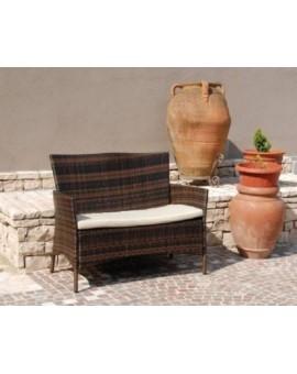 Divano 2 posti colore caffe in polyrattan da esterno Per Bar Locali giardino