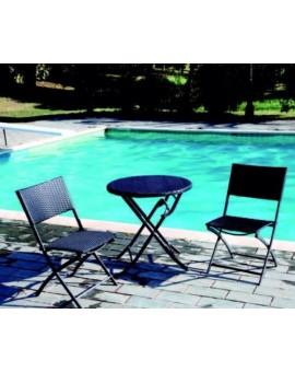 Set da esterno da bar,giardino,terrazzo tavolino e sedie in polyrattan pieghevol