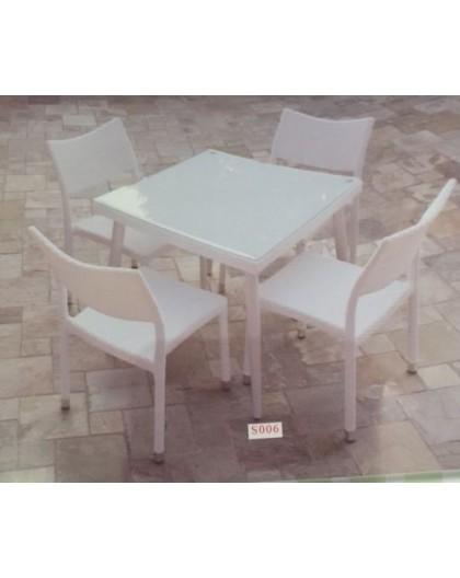 Tavolo E Sedie Rattan Bianco.Set Completo Tavolo Quadrato 90x90 Completo Di 4 Sedie In Rattan