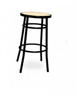 Sgabello medio per bar,cucina in metallo senza schienale Finta paglia nero
