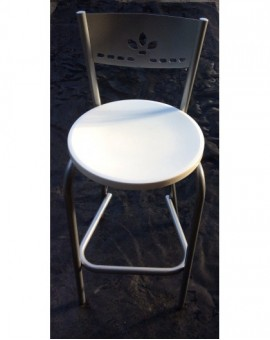 Sgabello alto per tavolo snack in metallo seduta Bianca realizz vari colori