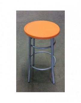Sgabello medio per bar,cucina in metallo senza schienale seduta arancio plastica