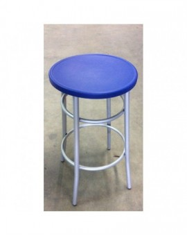 Sgabello medio per bar,cucina in metallo senza schienale seduta blu polipropilen
