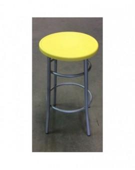Sgabello medio per bar,cucina in metallo senza schienale seduta giallo plastica