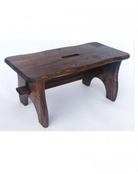 Poggiapiedi sgabello in legno massello noce sagomato cm38x19x21h