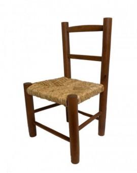Sedia baby seduta in paglia struttura in legno robusta per bimbi colore noce