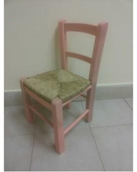 Sedia baby seduta in paglia struttura in legno robusta per bimbi rosa