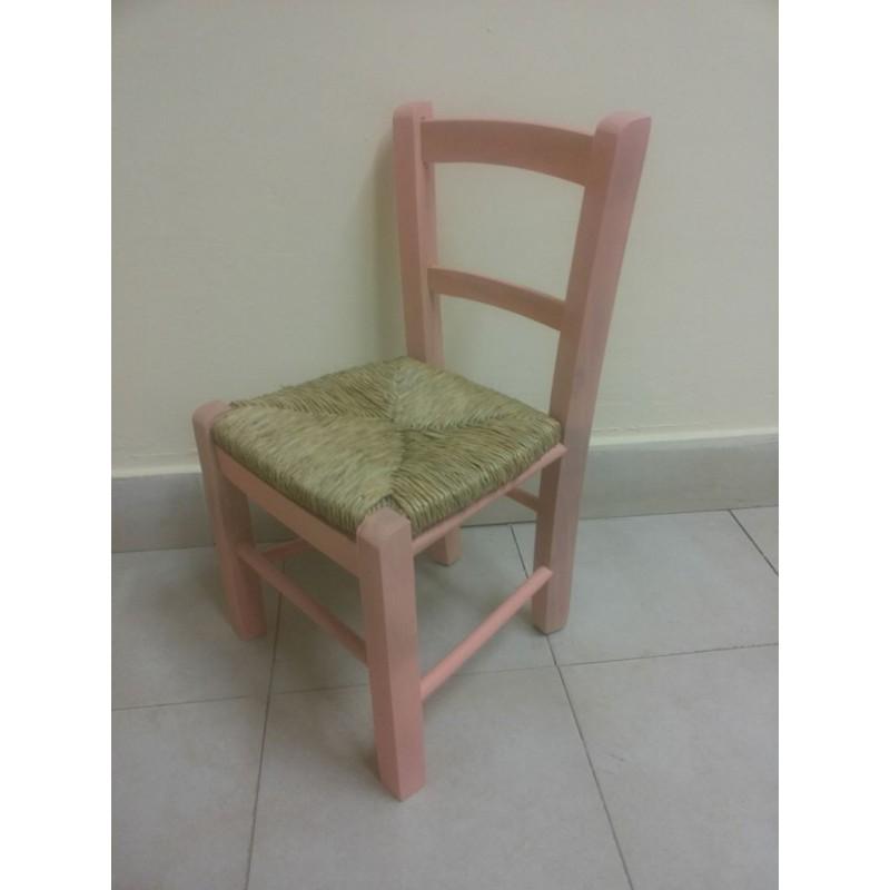 Sedia Baby Seduta In Paglia Struttura In Legno Robusta Per Bimbi Rosa Nonsolopoltrone